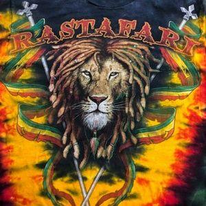 Rastafari Lion Graphic All Over Tie Dye T Shirt